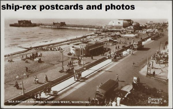 Worthing (Sussex) pier and seafront, postcard